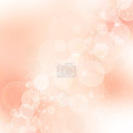 Pink abstract romantic background with hearts and sparkle