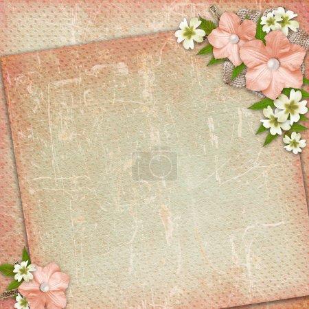 Photo pour Fond vintage avec dentelle et composition de fleurs - image libre de droit