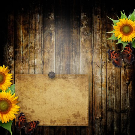 Photo for Greeting card or invitation on wooden background with butterfly and sunflowers - Royalty Free Image