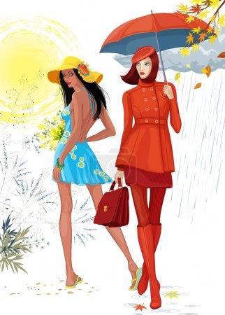 Illustration pour Illustration de deux belles filles. Brunette fille dans une robe bleue images de l'heure d'été, et la fille dans un vêtement rouge avec un parapluie images de l'automne. Chaque fille est sur une couche séparée . - image libre de droit