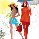 Illustration of two beautiful girls. Brunette girl...