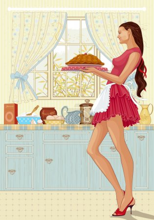 Illustration for Beautiful young woman holding a tray of freshly baked cake in the kitchen - Royalty Free Image