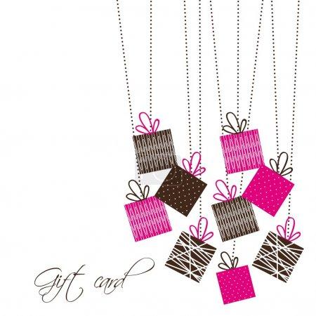 Illustration pour Cadeaux mignons sur fond blanc. illustration vectorielle - image libre de droit