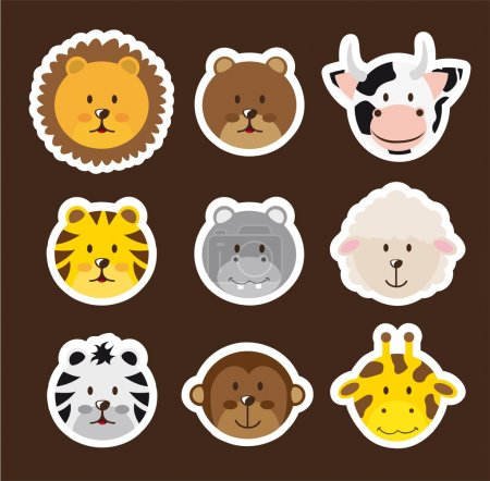 Illustration for Cute faces animals over brown background. vector illustration - Royalty Free Image