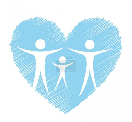 Illustration for Medical sign with blue heart and . vector illustration - Royalty Free Image