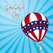 Independence day with hot air balloons vector illustration