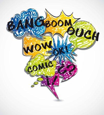 Illustration pour Ballons colorés texte bande dessinée, fond. illustration vectorielle - image libre de droit