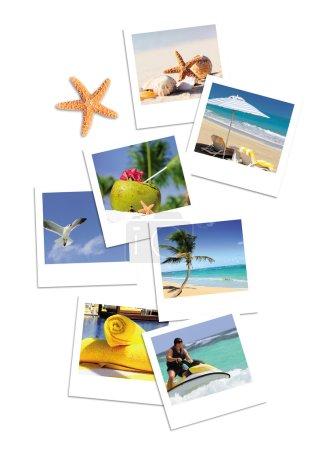 Photo pour Livre ouvert avec étoiles de mer en plein air avec fond de piscine - image libre de droit