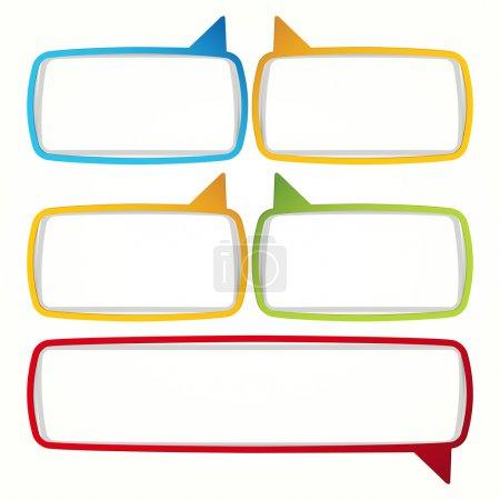 Illustration pour Cadres de discours coloré de bulle. étiquettes sous la forme d'un bloc vide pour votre texte. - image libre de droit