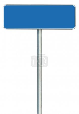 Photo pour Panneau de route bleu vierge isolé, grand cadre blanc vide encadré espace de copie de panneau routier - image libre de droit