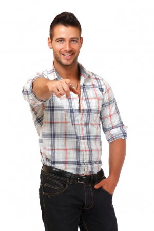 Handsome man pointing at you
