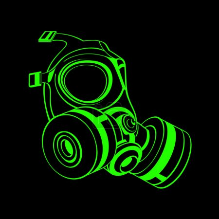 Illustration for Green contour gas mask isolated over black - Royalty Free Image