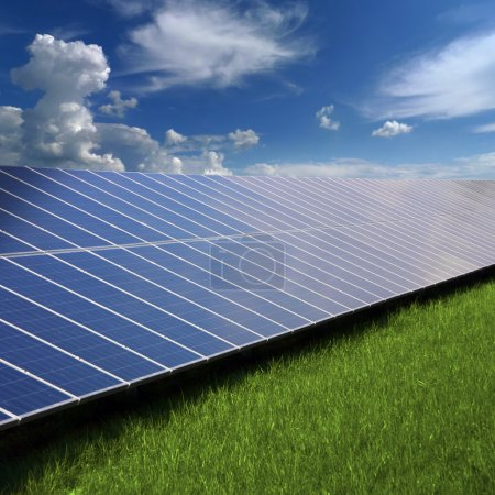 Solar photovoltaic cell panels on green grass unde...