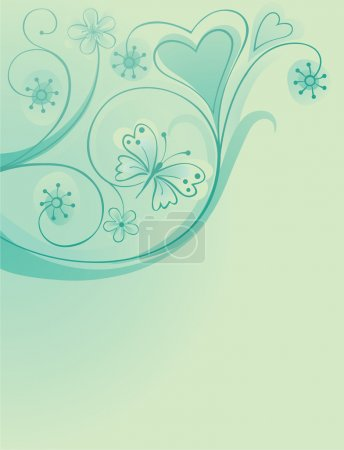 Illustration for Decorative ornate background with flowers and butterfly - Royalty Free Image