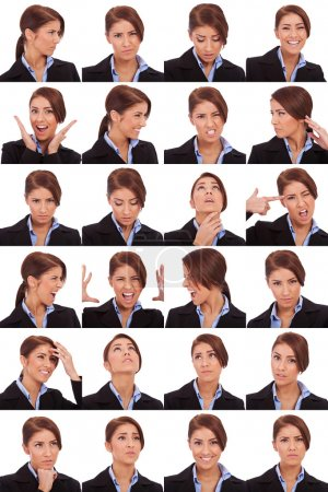 Photo for Collage of young business woman's different facial expressions - Royalty Free Image