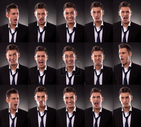 Photo for Young business man in an arrangement of many funny faces on dark background - Royalty Free Image