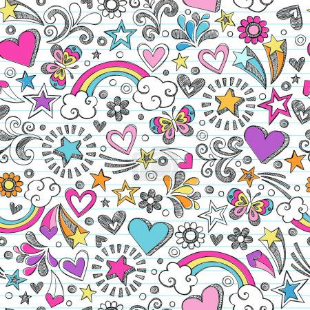 Illustration for Seamless Pattern Hearts, Rainbow, and Butterfly Doodles- Back to School Sketchy Notebook Design- Hand-Drawn Vector Illustration Background - Royalty Free Image