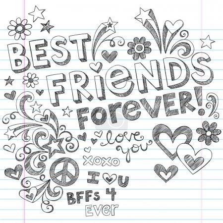 BEst Friends Forever BFF Back to School Sketchy Doodles Vector