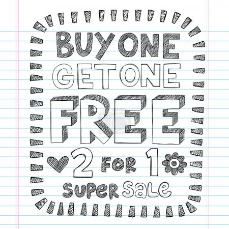 Buy One Get One Free Shopping Savings Sketchy Doodle Vector