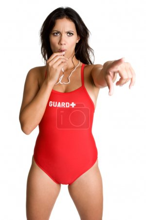 Lifeguard Blowing Whistle