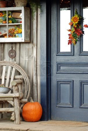 Photo for Fall front porch in the autumn time - Royalty Free Image