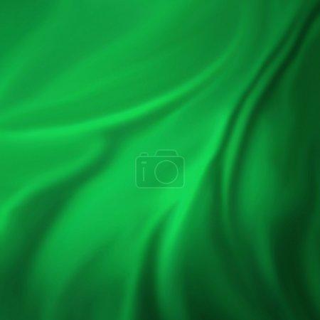 Photo pour Fond vert abstract illustration de vague chiffon ou liquide de plis ondulés de texture soie satin ou matières velours ou vert luxueux design papier peint fond de Noël de matière verte élégante - image libre de droit