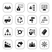 Set of 16 professional management icons BW series
