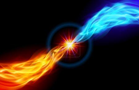 Illustration pour Étoile avec queue de flamme rouge et bleue pour vous conception sur noir - image libre de droit