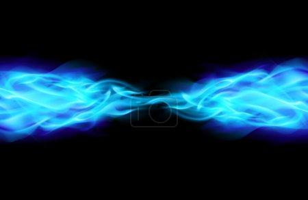 Illustration pour Flamme bleue dans l'espace. Illustration sur Noir - image libre de droit