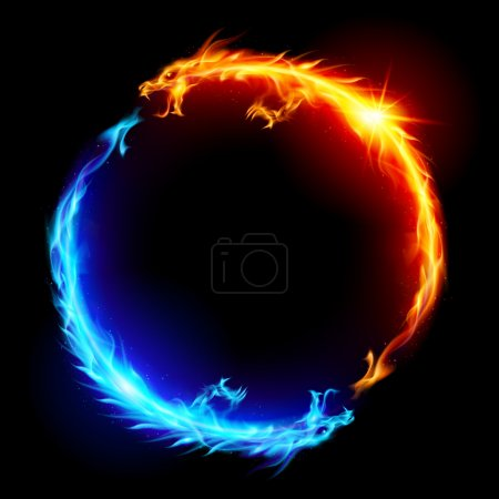 Photo for Ring of Blue and Red Fiery Dragons. - Royalty Free Image