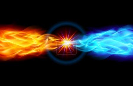 Illustration pour Étoile avec queue de flamme rouge et bleue dans l'espace - image libre de droit