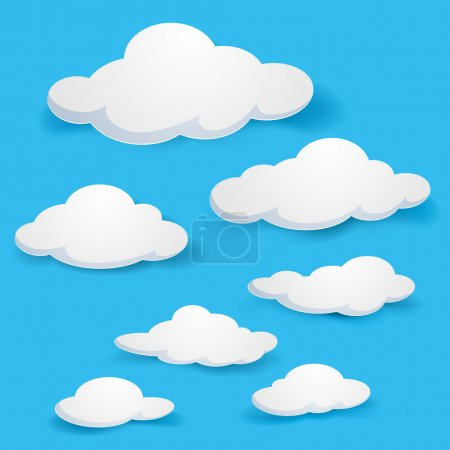 Cartoon clouds. Illustration on blue background for design