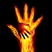 Burning helping hand Illustration for design on black background