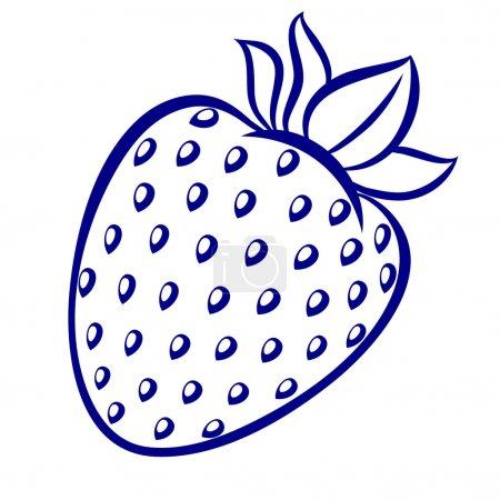 Illustration pour Illustration fraise, bleu et blanc sur fond blanc - image libre de droit