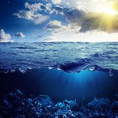 Waterline and underwater background