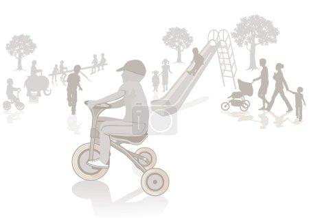 Illustration pour Enfant sur le tricycle - image libre de droit