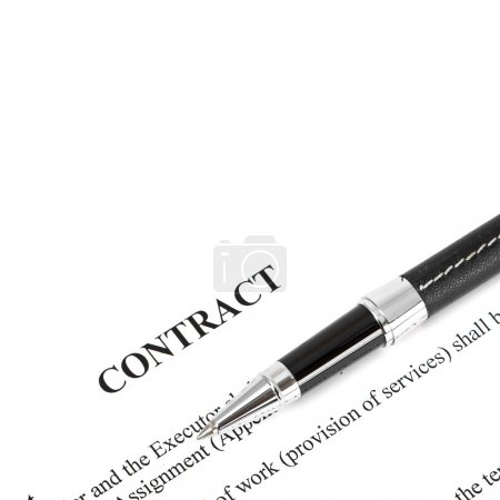 Photo for Close-up of silver pen on contract. Selective focus on top of pen. - Royalty Free Image