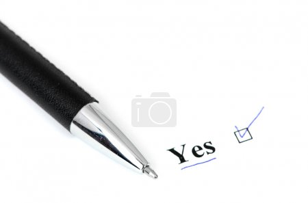Photo for Yes and pen isolated on a white background - Royalty Free Image