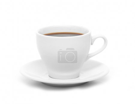 Photo for Perfect white coffee cup with steam isolated on white - Royalty Free Image