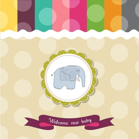 Baby shower card template with elephant