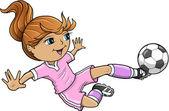 Sportovní letní fotbal dívka vektorové ilustrace