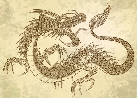 Illustration for Henna Tattoo Dragon Doodle Sketch Tribal grunge Vector Illustration Art - Royalty Free Image