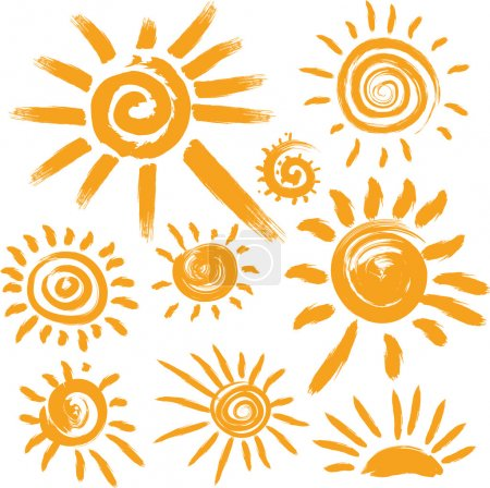 Set of handwritten sun symbols...