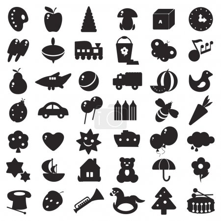 Illustration for A set of black silhouettes of pictures for children - toys and different symbols - Royalty Free Image