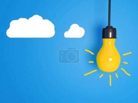 Photo for Yellow light bulb on blue background with clouds. - Royalty Free Image