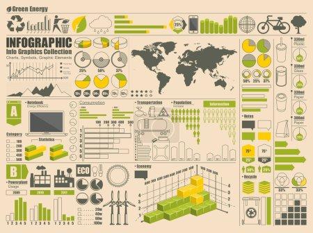 Set of green info graphics