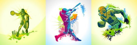 Illustration for Three illustrations with a basketball, football and baseball player - Royalty Free Image