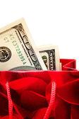 Peníze v nákupní tašce