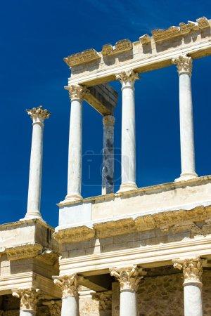 Detail of Roman Theatre, Merida, Badajoz Province, Extremadura,