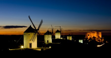 Windmills with castle at night, Consuegra, Castile-La Mancha, Sp